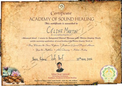 Certificat par Academy of Sound Healing, Satya Brat Jaiswal, India